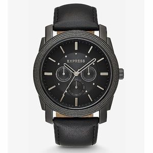 NWT Mens Express black leather watch adjustable